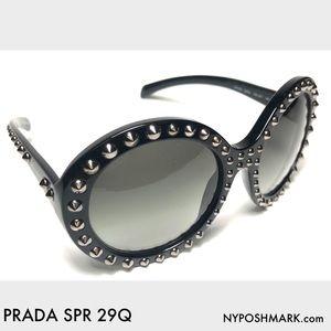 Prada Accessories - Prada SPR 29Q Black Oversized Statement Sunglasses